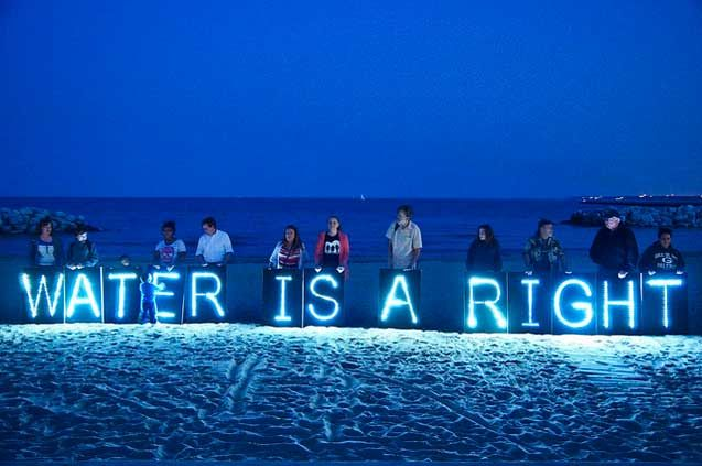 A demonstration to protest Detroit shutting off water to the city's most impoverished and vulnerable, July 19, 2014.
