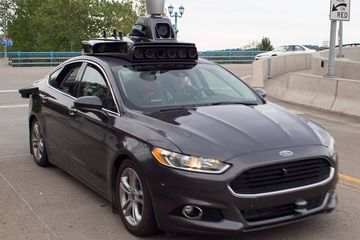 Close up of Uber's Self Driving Car in Pittsburgh.